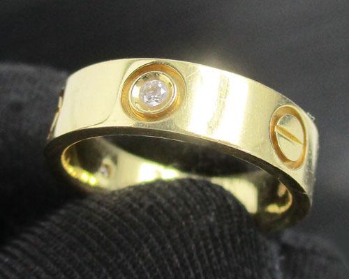 แหวน ปลอกมีด คั่นเพชร 3 เม็ด 0.09 กะรัต ทอง18K งานสวยมาก นน. 7.28 g