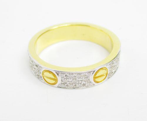 แหวน เพชร 3 แถว ตัดลาย เพชร 66 เม็ด 0.50 กะรัต ทอง18K 2 กษัตริย์ งานสวยมาก นน. 5.40 g 2