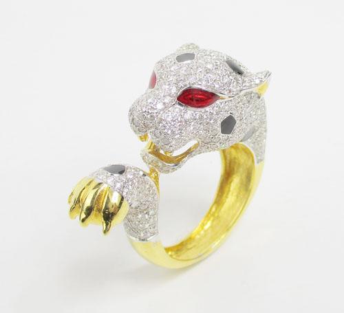 แหวน เสือจากัวร์ ลงยา ฝังเพชร 390 เม็ด 2.44 กะรัต ทอง90 งานสวยมาก นน. 11.92 g 1