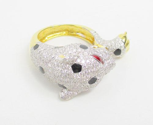 แหวน เสือจากัวร์ ลงยา ฝังเพชร 390 เม็ด 2.44 กะรัต ทอง90 งานสวยมาก นน. 11.92 g 4
