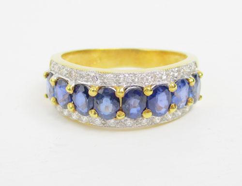 แหวน ไพลิน เจียร ฝังเพชรข้าง 28 เม็ด 0.28 กะรัต ทอง90 งานสวยมาก นน. 4.79 g 1
