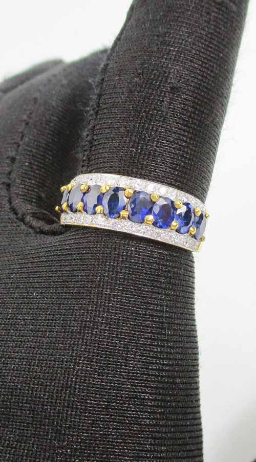 แหวน ไพลิน เจียร ฝังเพชรข้าง 28 เม็ด 0.28 กะรัต ทอง90 งานสวยมาก นน. 4.79 g 4