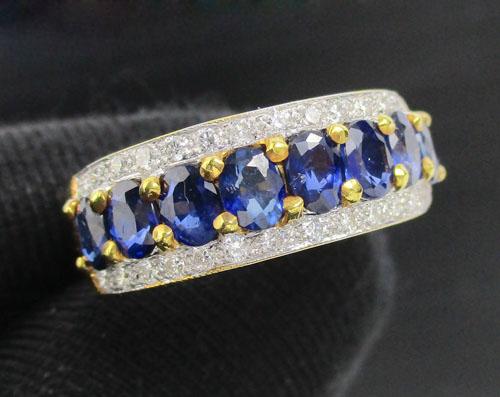 แหวน ไพลิน เจียร ฝังเพชรข้าง 28 เม็ด 0.28 กะรัต ทอง90 งานสวยมาก นน. 4.79 g