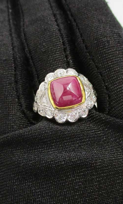 แหวน ทับทิม ทรงกองข้าว ล้อมเพชร 18 เม็ด 0.45 กะรัต ทอง90 งานสวยมาก นน. 7.78 g 4