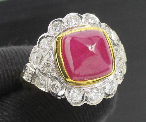 แหวน ทับทิม ทรงกองข้าว ล้อมเพชร 18 เม็ด 0.45 กะรัต ทอง90 งานสวยมาก นน. 7.78 g