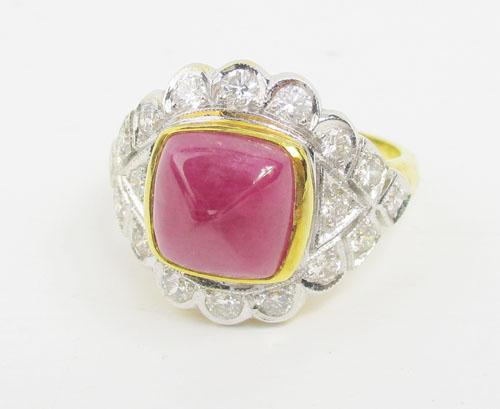 แหวน ทับทิม ทรงกองข้าว ล้อมเพชร 18 เม็ด 0.45 กะรัต ทอง90 งานสวยมาก นน. 7.78 g 1