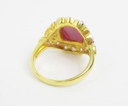 แหวน ทับทิม ทรงกองข้าว ล้อมเพชร 18 เม็ด 0.45 กะรัต ทอง90 งานสวยมาก นน. 7.78 g 2