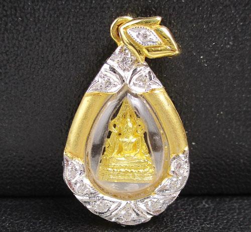 พระพุทธชินราช เนื้อทองคำ กรอบทอง ฝังเพชร 11 เม็ด 0.05 กะรัต ทอง90 งานสวยมาก นน. 4.63 g