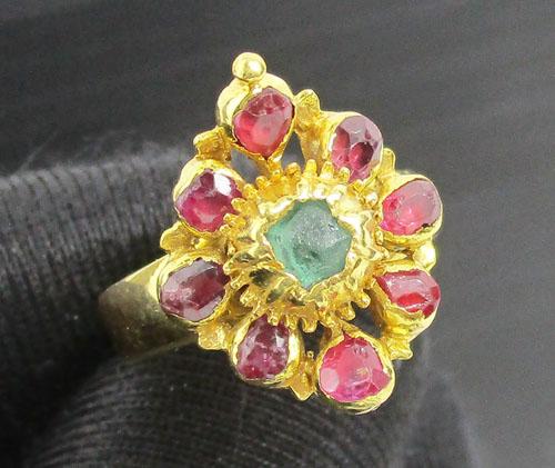 แหวน มรกต ล้อมทับทิม เจียร ทอง90 งานสวยมาก นน. 4.56 g