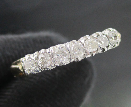 แหวน เพชรแถวชู 7 เม็ด 0.28 กะรัต ทองK 2 สี งานสวยมาก นน. 2.64 g