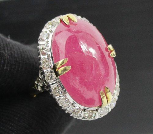 แหวน ทับทิม หลังเบี้ย ล้อมเพชร 20 เม็ด 0.60 กะรัต ทองK 2 สี งานสวยมาก นน. 6.20 g