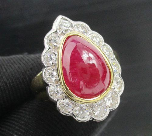 แหวน ทับทิม ทรงหยดน้ำ หลังเบี้ย ล้อมเพชร 14 เม็ด 1.16 กะรัต ทอง90 งานสวยมาก นน. 8.42 g