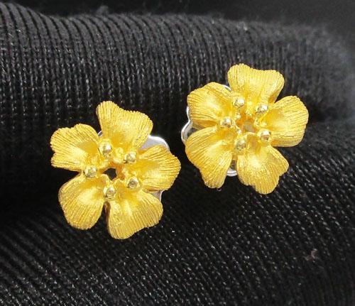 ต่างหู Prima Gold ทอง24K ฉลุลาย ดอกไม้ งานสวยมาก นน. 3.08 g