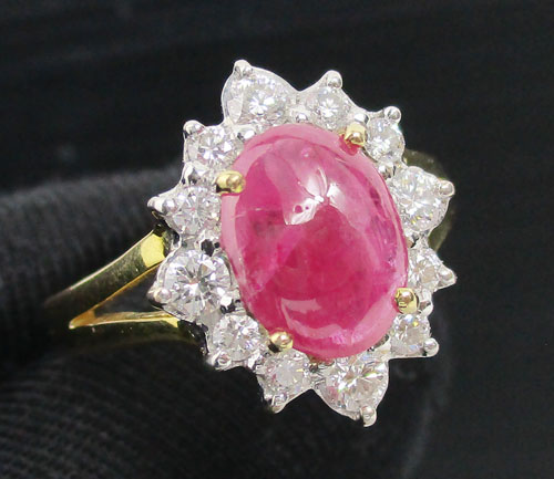 แหวน ทับทิม หลังเบี้ย ล้อมเพชร 12 เม็ด 0.40 กะรัต ทอง90 งานสวยมาก นน. 5.32 g