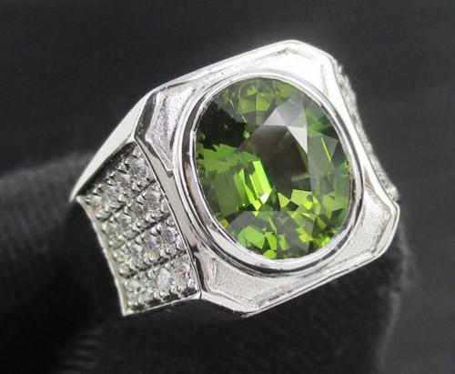 แหวน เขียวส่อง เจียร ฝังเพชรข้าง 32 เม็ด 0.32 กะรัต ทอง90ชุบขาว งานสวยมาก นน. 9.69 g