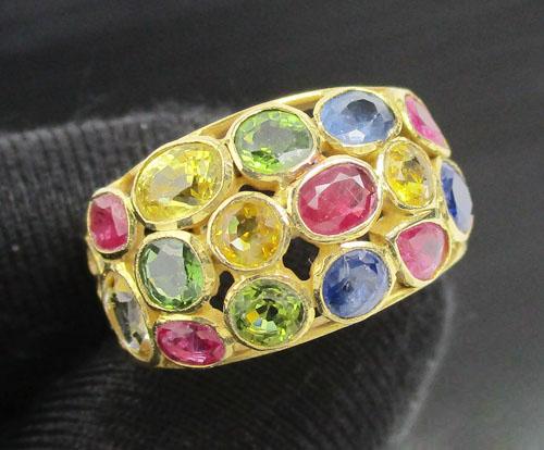 แหวน พลอยหลากสี ฉลุลาย ทอง90 งานสวยมาก นน. 5.32 g