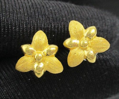 ต่างหู Prima Gold ทอง24K ลายดอกไม้ งานสวยมาก นน. 3.14 g