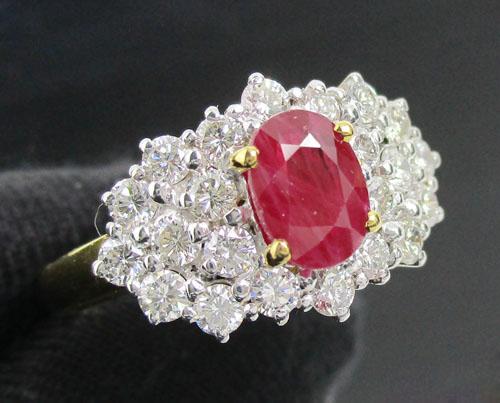 แหวน ทับทิมพม่า เจียร ล้อมเพชร 22 เม็ด 0.90 กะรัต ทอง90  นน. 5.14 g
