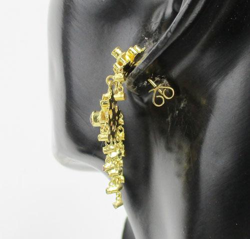 ต่างหู 3 สี ทับทิม มรกต เพชรซีก ระย้า ตุ้งติ้ง ทอง90 งานสวยมาก นน. 8.66 g 3