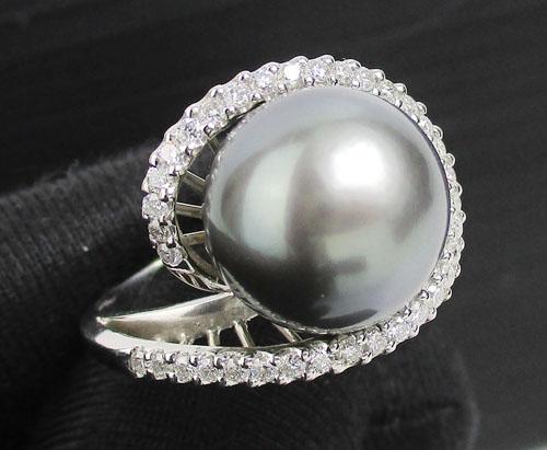แหวน มุก Southsea ล้อมเพชร 35 เม็ด 0.70 กะรัต ทอง18Kขาว งานสวยมาก นน. 10.86 g