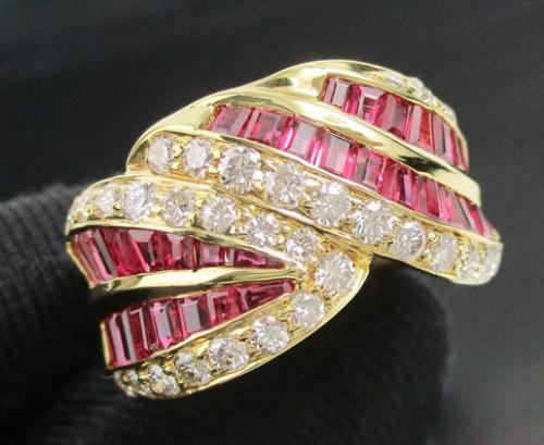 แหวน ทับทิม Princess ฝังเพชรไขว้ 31 เม็ด 0.60 กะรัต ทอง18K งานสวยมาก นน. 9.10 g