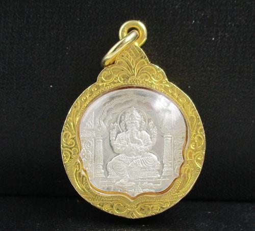 เหรียญ พระพิฆเนศวร หลังยันต์ โอม วัดแขกสีลม เนื้อขัดเงา เลี่ยมทองเก่า นน. 6.18 g