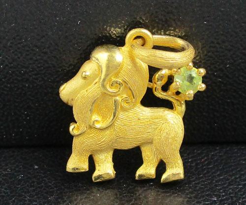 จี้ Prima Gold ทอง24K รูปสิงโต ฝังพลอยเขียว งานสาวยมาก นน. 3.48 g