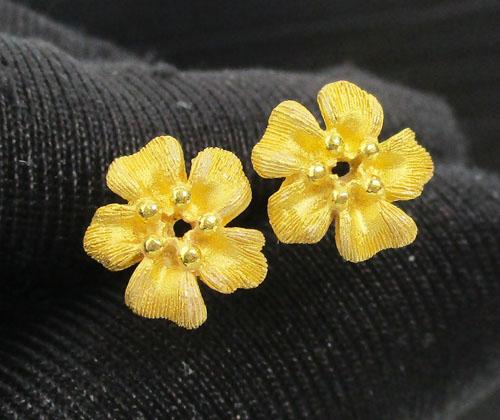 ต่างหู Prima Gold ทอง24K ลายดอกไม้ งานสาวยมาก นน. 3.10 g