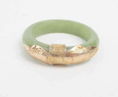 แหวน หยก หน้านาก แกะลาย นาก40 งานสวยมาก นน. 4.12 g 1