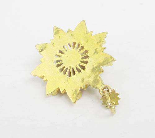 จี้ เพชรซีก กะรจุกพิกุล ฉลุลาย ทอง90 งานสวยมาก  นน. 4.84 g 1