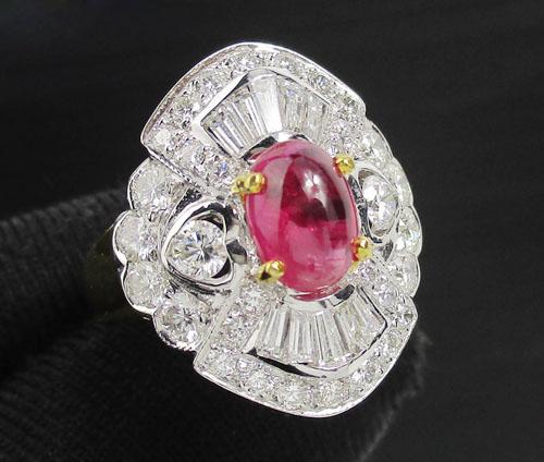 แหวน ทับทิม หลังเบี้ย เนื้อแก้ว ล้อมเพชร 44 เม็ด 1.48 กะรัต ทอง90 งานสวยมาก นน. 6.00 g