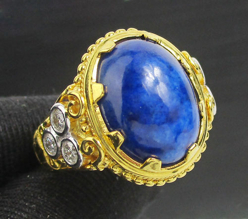 แหวน ลาพิส หลังเบี้ย ฝังเพชรข้าง 6 เม็ด 0.55 กะรัต ทอง90 งานสวยมาก นน. 14.42 g