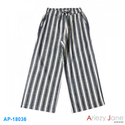 กางเกง ขาบาน ลายริ้วใหญ่ เทาขาวกรม AP-18036