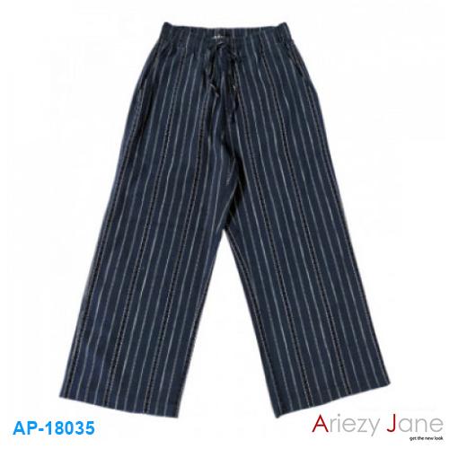 กางเกง ขาบาน ลายพื้นกรมท่า เดินเส้นประสีขาว AP-18035
