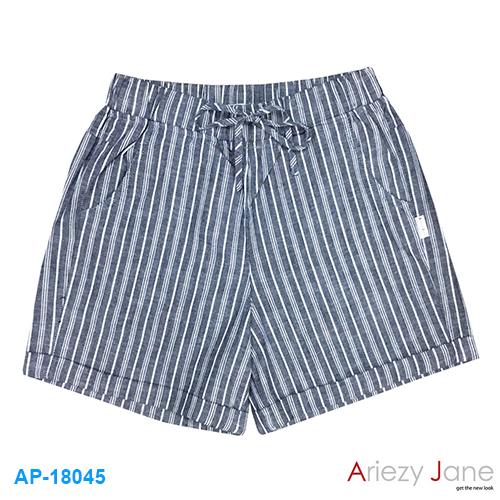 กางเกงขาสั้น ริ้วเล็ก เทา/ขาว AP-18045