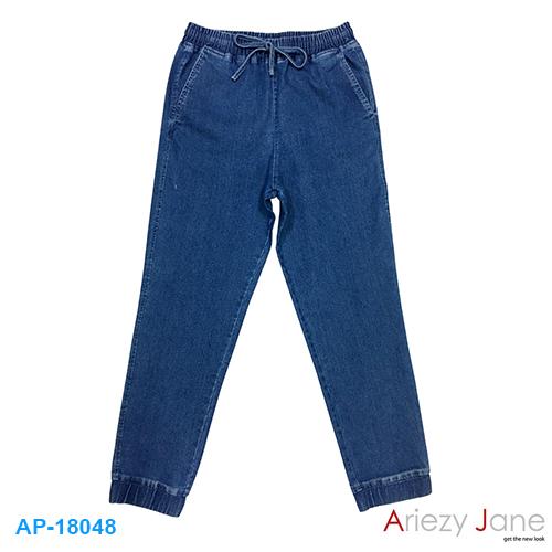 กางเกง 5 ส่วน ยีนส์ยืด น้ำเงิน จั๊มปลายขา AP-18048