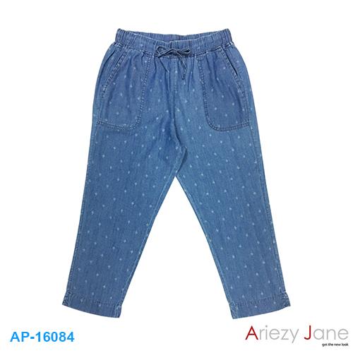 กางเกง5ส่วน ยีนส์ ลายพิมพ์ดาว AP-16084