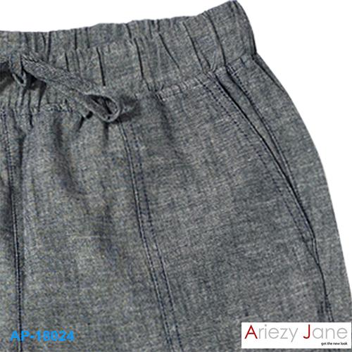 กางเกง5ส่วน เทาดำ ผ่าข้าง AP-18024 1