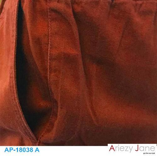 กางเกง5ส่วน ผ่าข้าง แดงปูน AP-18038 A 1
