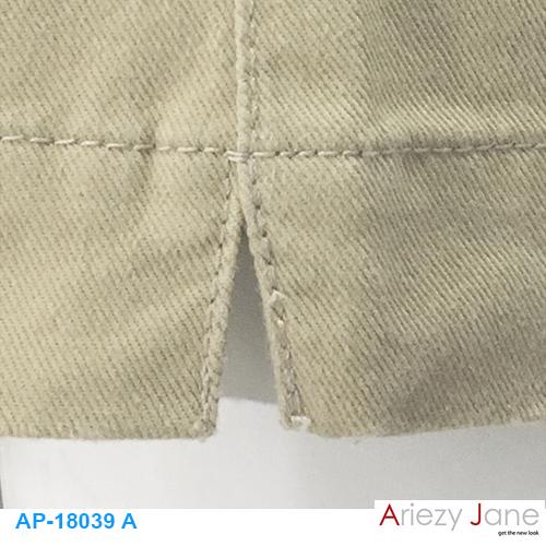 กางเกง5ส่วน ผ่าข้าง กากีอ่อน AP-18039 A 2