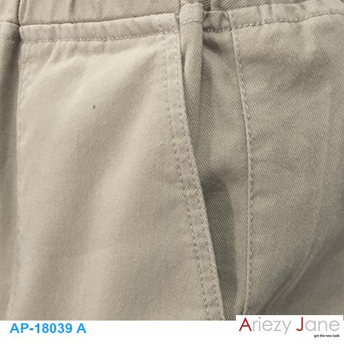 กางเกง5ส่วน ผ่าข้าง กากีอ่อน AP-18039 A 1