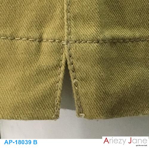 กางเกง5ส่วน ผ่าข้าง กากีเข้ม AP-18039 B 1