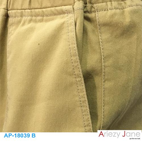กางเกง5ส่วน ผ่าข้าง กากีเข้ม AP-18039 B 2