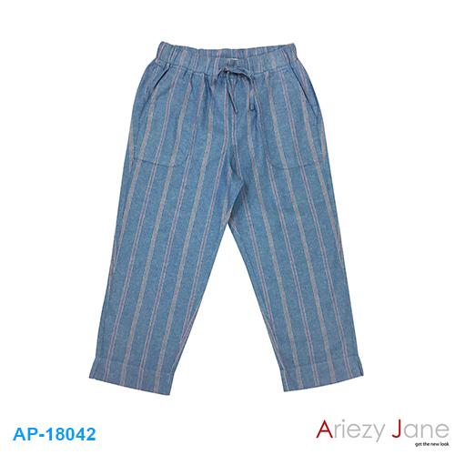 กางเกง5ส่วน ผ่าข้าง ยีนส์ ลายริ้วขาวแดงขาว AP-18042