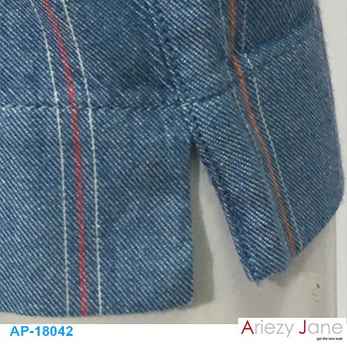 กางเกง5ส่วน ผ่าข้าง ยีนส์ ลายริ้วขาวแดงขาว AP-18042 1