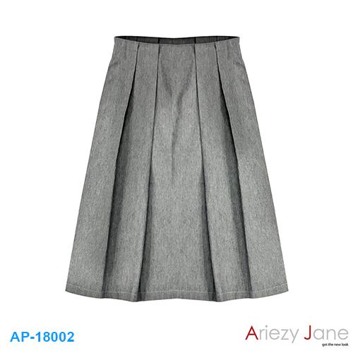 กระโปรง ยีนส์ยืด สก็อตเทาอ่อน AP-18002