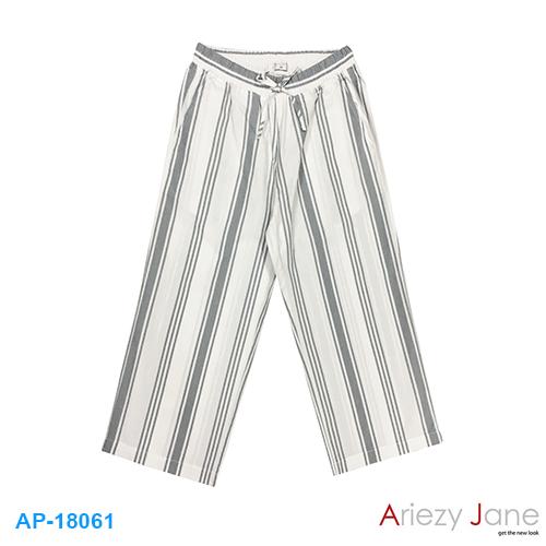 กางเกงขาบาน ริ้วเทา ขาว  AP-18061