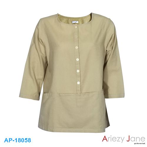 เสื้อทรง Tunic ผ้าลินินผสม AJ-18058