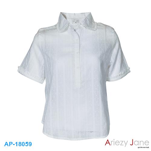 เสื้อเชิ้ตแขนสั้น ปกบัว ผ้าลูกไม้ขาว AJ-18059