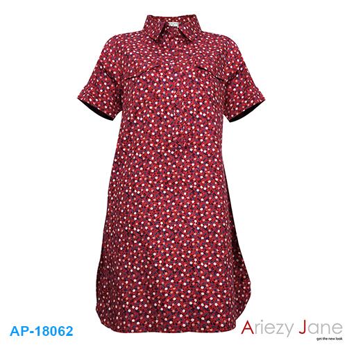 ชุดกระโปรงแดง ลายดอก AJ-18062